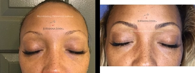 before and after photos of microblading